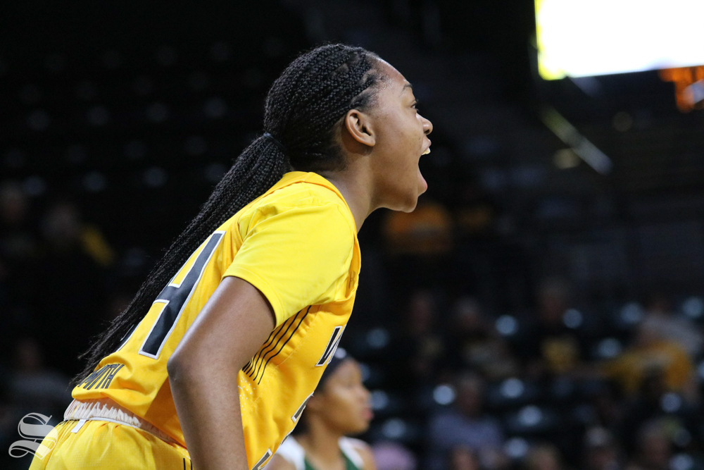 Shyia+Smith+yells+towards+her+teammates+during+the+exhibition+game+against+Missouri+Southern+State+on+November+1.