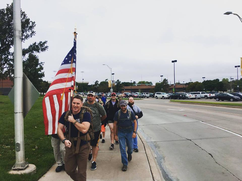 Riley Jones leads a group of students and student veterans at the second annual Shocker Ruck event. The event aims to give insight into the life of veterans in a multitude of ways. (Courtesy, Riley Jones)