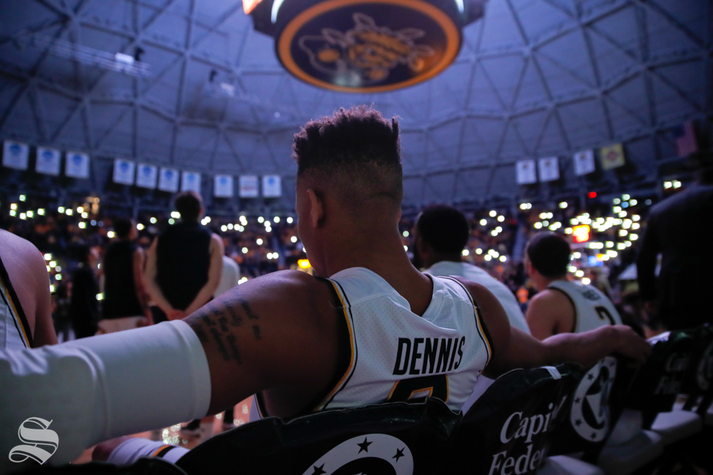 Wichita State guard Dexter Dennis waits for his name to be called at the start of their game against Baylor on Dec. 1, 2018 in Charles Koch Arena.