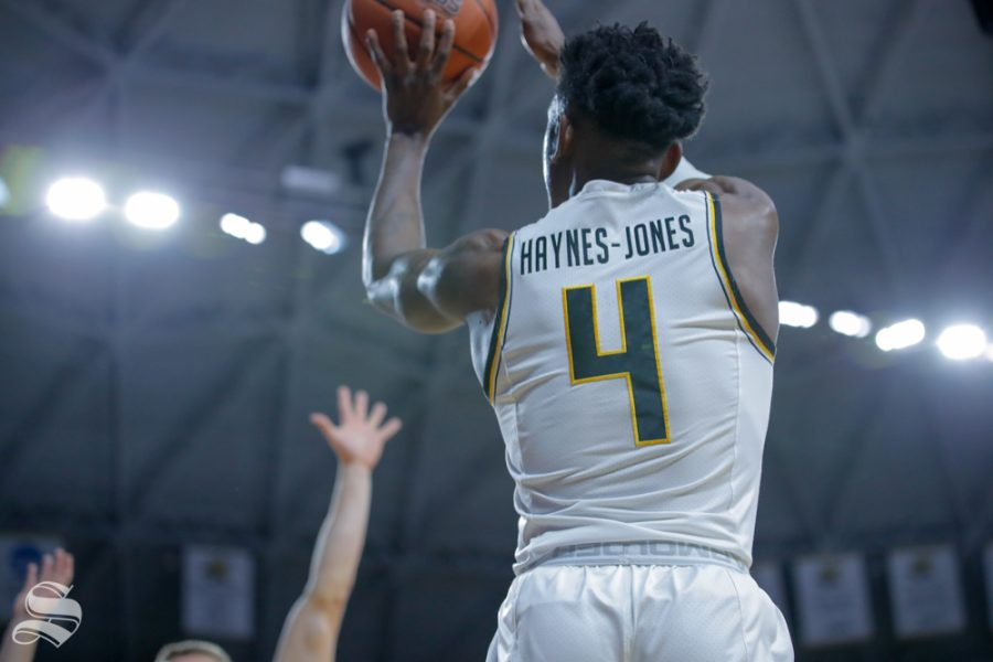 Wichita+State+guard+Samajae+Haynes-Jones+takes+a+shot+during+their+game+against+Baylor+on+Dec.+1%2C+2018+in+Charles+Koch+Arena.