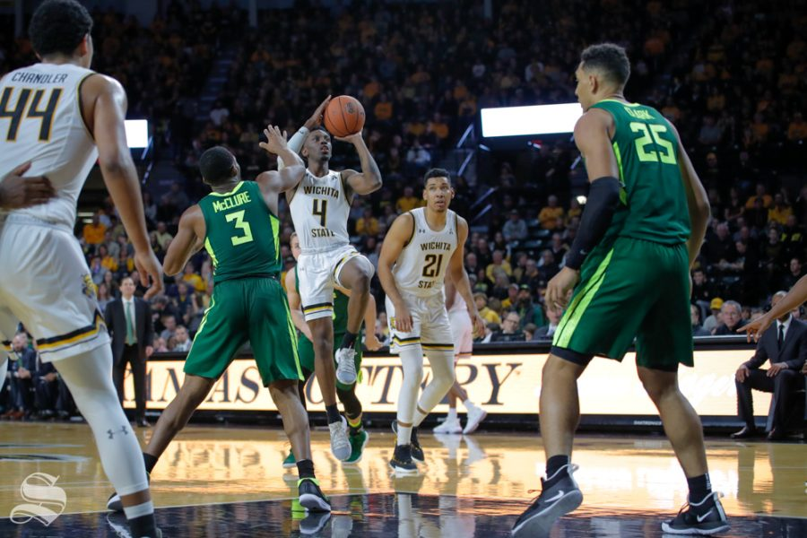 Wichita+State+guard+Samajae+Haynes-Jones+takes+a+shot+during+their+game+against+Baylor+on+Dec.+1%2C+2018+in+Koch+Arena.+Coach+Gregg+Marshall+said+%22he+was+solid.%22