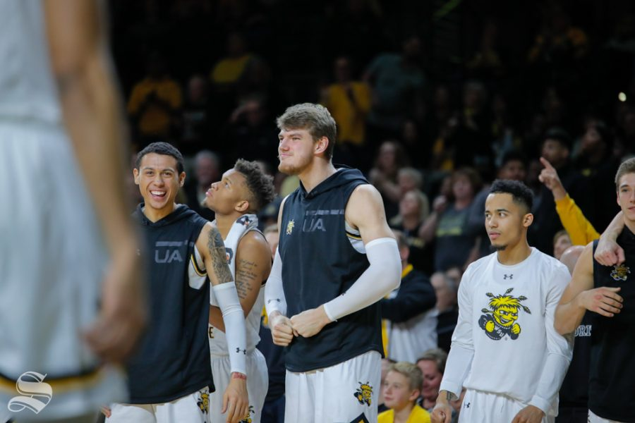 Wichita+State+center+Asbj%C3%B8rn+Midtgaard+celebrates+on+the+bench+during+their+game+against+Baylor+in+Charles+Koch+Arena+on+Dec.+1%2C+2018.