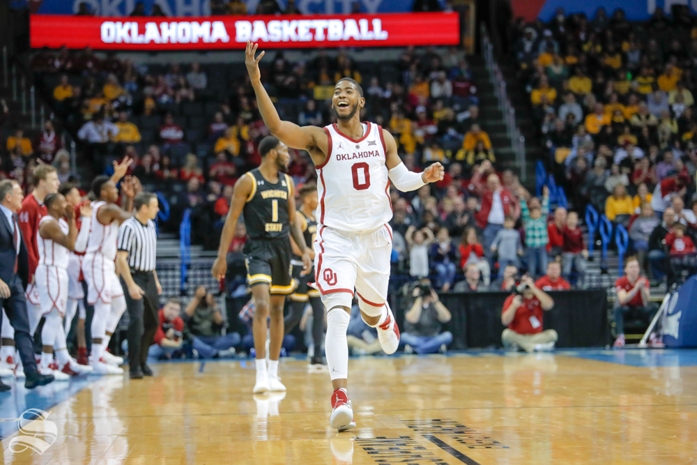 University of Oklahoma guard Christian James taunts the Wichita State bench during their game at Chesapeake Energy Arena in Oklahoma City on Dec. 8, 2018.