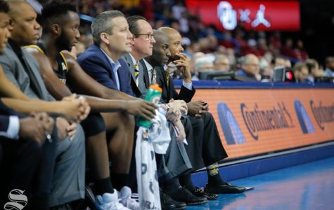 Head Coach Gregg Marshall sat down in the final minutes of their game against the University of Oklahoma at Chesapeake Energy Arena in Oklahoma City on Dec. 8, 2018.