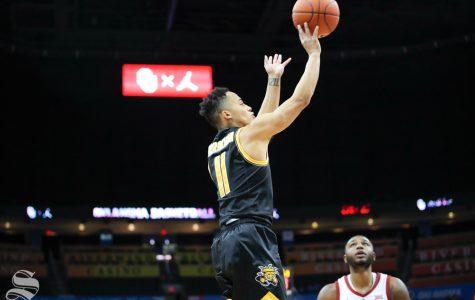 Wichita State junior Eli Farrakhan takes a shot during their game against the University of Oklahoma at Chesapeake Energy Arena in Oklahoma City on Dec. 8, 2018.