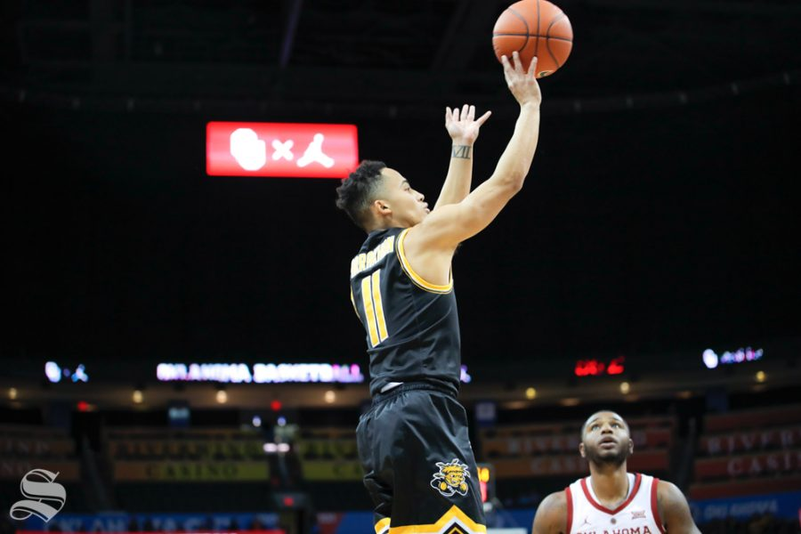 Wichita+State+junior+Eli+Farrakhan+takes+a+shot+during+their+game+against+the+University+of+Oklahoma+at+Chesapeake+Energy+Arena+in+Oklahoma+City+on+Dec.+8%2C+2018.