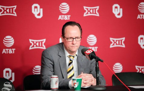 Head Coach Gregg Marshall looks disspleased after their loss to the University of Oklahoma at Chesapeake Energy Arena in Oklahoma City on Dec. 8, 2018.