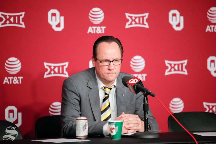 Head+Coach+Gregg+Marshall+looks+disspleased+after+their+loss+to+the+University+of+Oklahoma+at+Chesapeake+Energy+Arena+in+Oklahoma+City+on+Dec.+8%2C+2018.