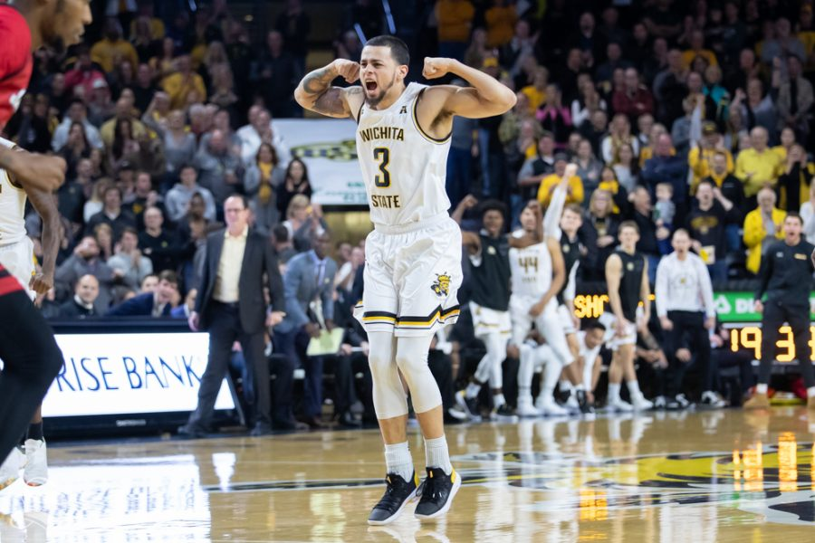 Wichita State guard Ricky Torres celebrates after making a basket during their game against Jacksonville State on Dec. 12, 2018 at Charles Koch Arena.