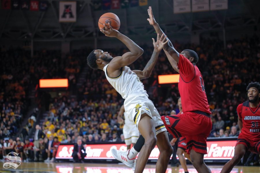 Wichita+State+forward+Markis+McDuffie+takes+a+shot+during+their+game+against+Jacksonville+State+on+Dec.+12%2C+2018+at+Charles+Koch+Arena.