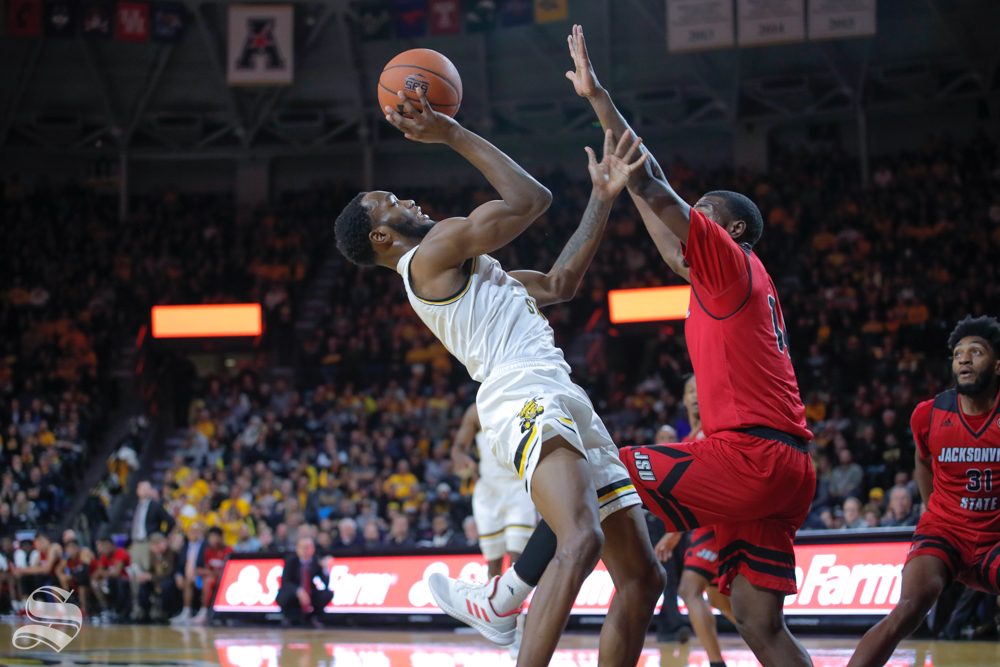 Wichita State forward Markis McDuffie takes a shot during their game against Jacksonville State on Dec. 12, 2018 at Charles Koch Arena.
