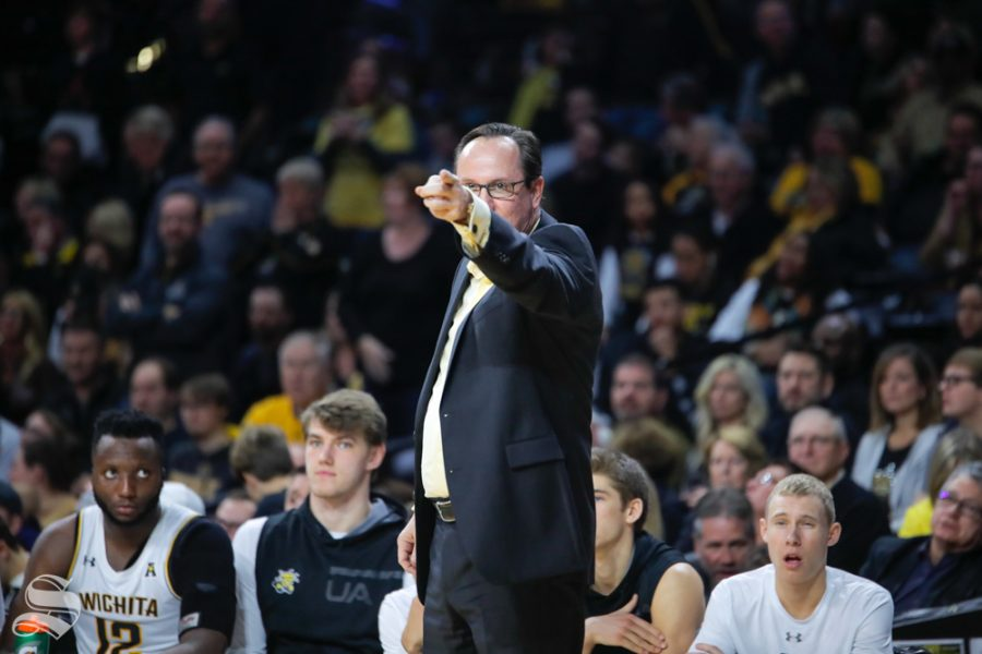 Head+Coach+Gregg+Marshall+points+to+the+ref+after+a+call+is+made+against+Wichita+State.+The+Shockers+played+Jacksonville+State+on+Dec.+12%2C+2018+at+Charles+Koch+Arena.