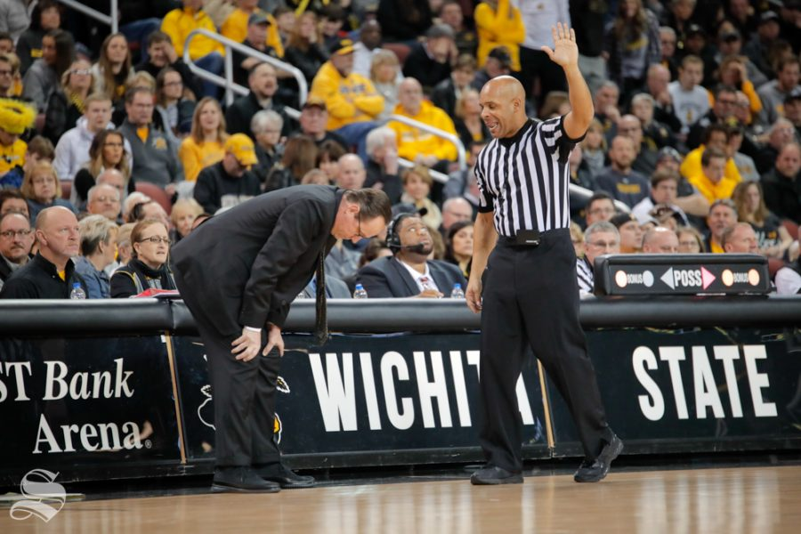Head+Coach+Gregg+Marshall+bends+over+after+a+call+is+made+against+Wichita+State+during+their+game+against+Southern+Miss+on+Dec.+15%2C+2018+at+INTRUST+Bank+Arena.