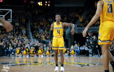 Wichita State senior Samajae Haynes-Jones celebrates after making a shot during their game on Dec. 15, 2018 at INTRUST Bank Arena.