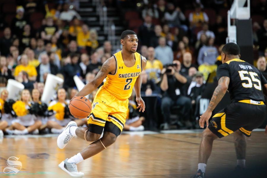 Wichita+State+guard+Jamarius+Burton+dribbles+past+half+court+during+their+game+against+Southern+Miss+on+Dec.+15%2C+2018+at+INTRUST+Bank+Arena.