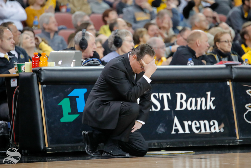 Head Coach Gregg Marshall holds his head after a bad pass during their game against Southern Miss on Dec. 15, 2018 at INTRUST Bank Arena.