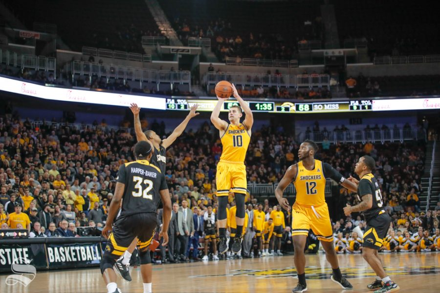 Wichita+State+guard+Erik+Stevenson+takes+a+shot+during+their+game+against+Southern+Miss+on+Dec.+15%2C+2018+at+INTRUST+Bank+Arena.