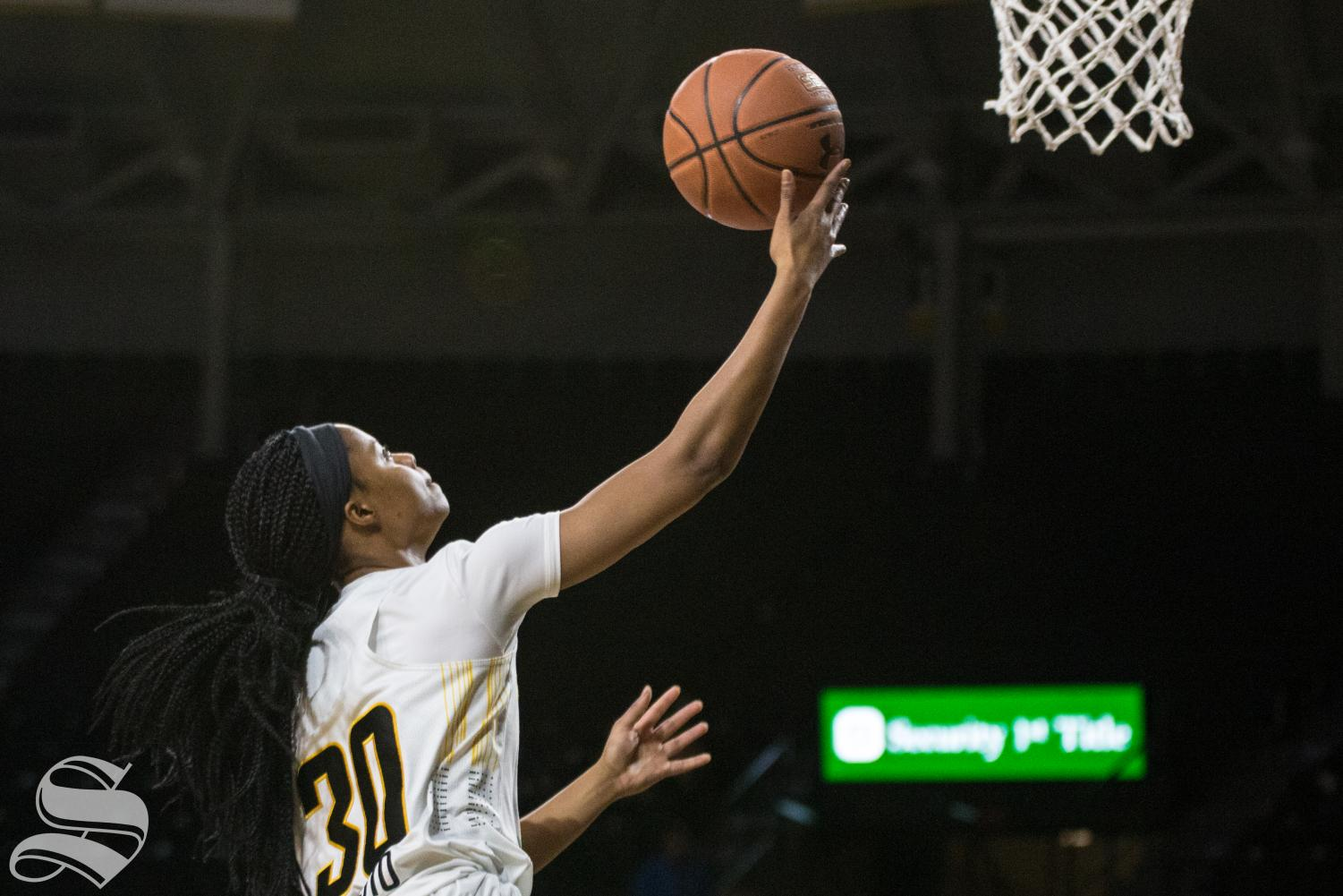 Wichita State's Cesaria Ambrosio goes up for a lay up during the game against Savannah State.