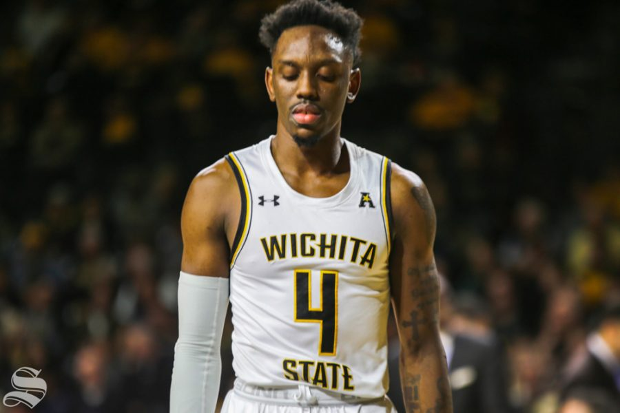 Wichita+State%27s+Samajae+Haynes-Jones+on+the+court+during+the+Oral+Roberts+game+Dec.+19+at+Koch+Arena.+