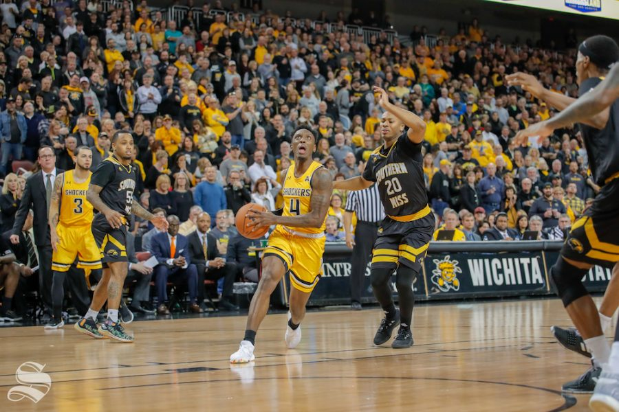 Wichita+State+senior+Samajae+Haynes-Jones+drives+to+the+rim+against+Southern+Mississippi.+The+Shockers+played+at+INTRUST+Bank+Arena.+