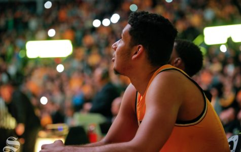 Wichita State forward Jaime Echenique looks up to the video board before their game against UCF on Jan. 16, 2019 at Charles Koch Arena.