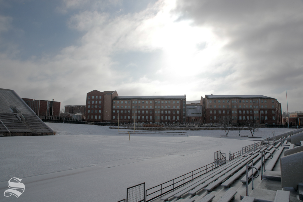 Shocker Hall is covered in snow on Jan. 19, 2019. (Photo by Joseph Barringhaus/The Sunflower).