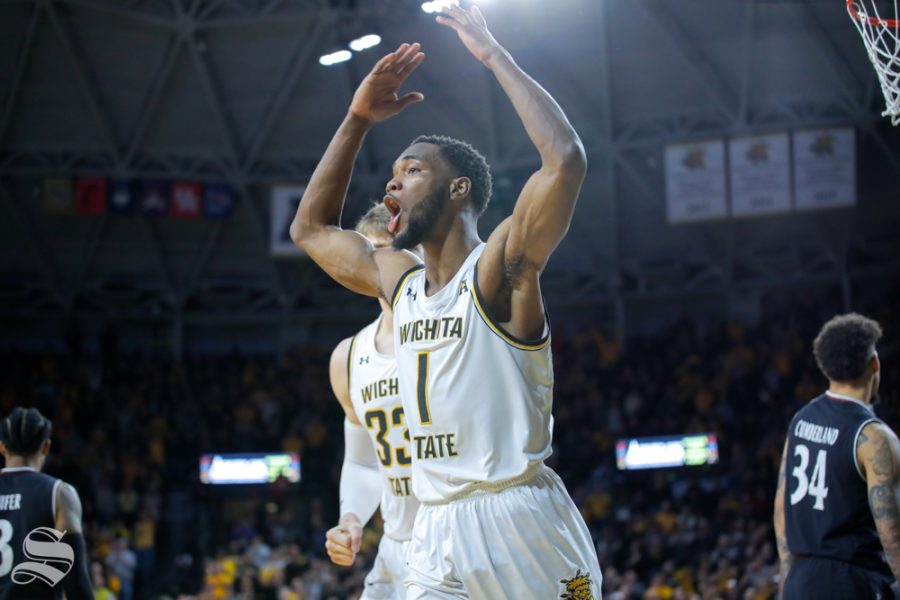 Wichita State senior Markis McDuffie calls out to the fans during the game against Cincinnati on Jan. 19, 2019 at Charles Koch Arena. (Photo by Joseph Barringhaus/The Sunflower).