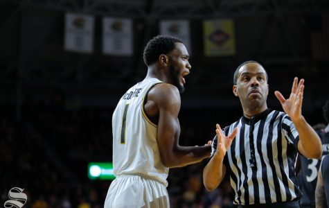 Wichita State senior Markis McDuffie looks in shock after Erik Stevenson received a foul in the game on Jan. 19, 2019 at Charles Koch Arena.