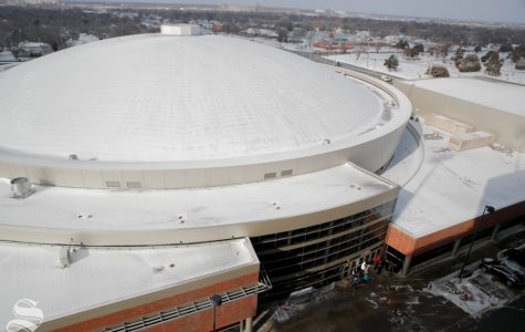 Charles Koch Arena is covered with snow prior to the game between Wichita State and Cincinnati on Jan. 19, 2019. Snow came through the Wichita area on Friday night, causing the parking lots at Wichita State to remain frozen. At tipoff the temperature is expected to be 22 degrees with a windchill bringing it down to 7 degrees. (Photo by Joseph Barringhaus/The Sunflower).