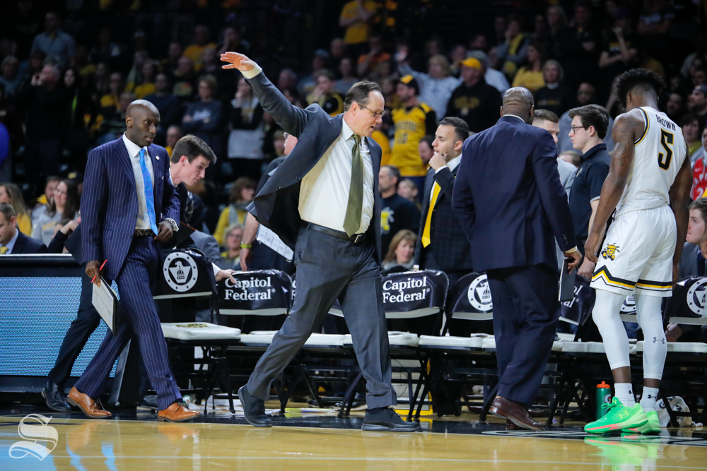 Wichita State coach Gregg Marshall waves his hand to the refs during the game on Jan. 19, 2019 at Charles Koch Arena. (Photo by Joseph Barringhaus/The Sunflower).