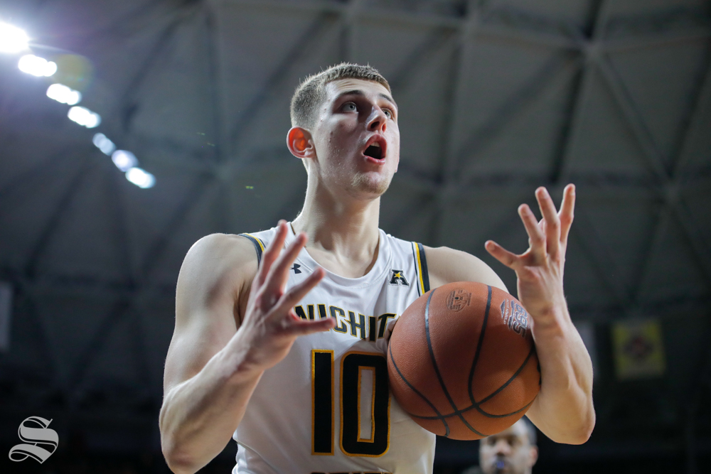Wichita State freshman Erik Stevenson is in shock after receiving a foul in the game on Jan. 19, 2019 at Charles Koch Arena. (Photo by Joseph Barringhaus/The Sunflower).
