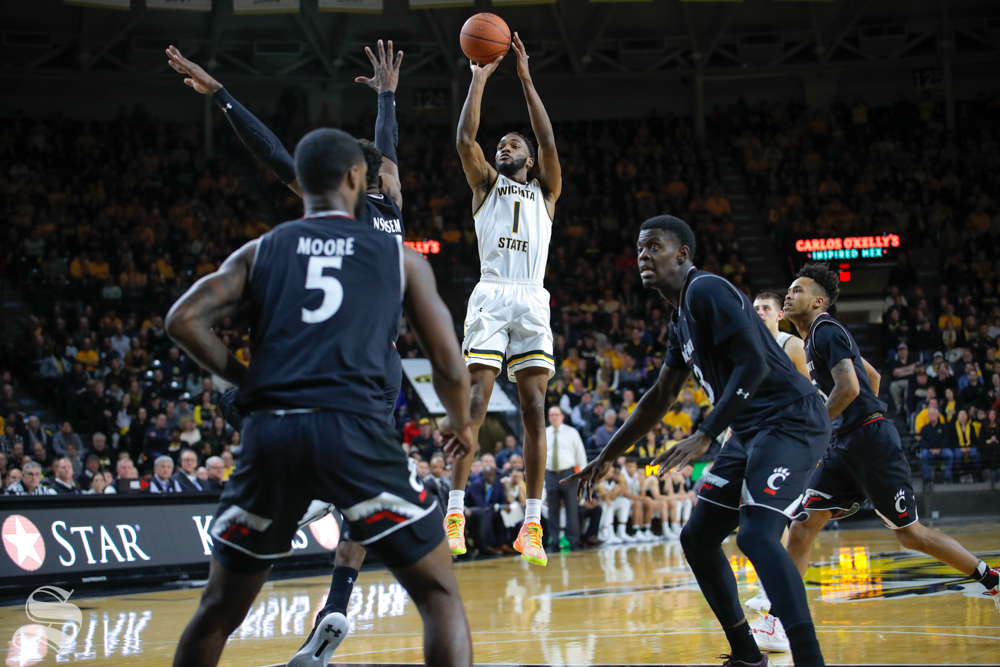 Wichita State senior Markis McDuffie takes a shot during the game against Cincinnati on Jan. 19, 2019 at Charles Koch Arena. (Photo by Joseph Barringhaus/The Sunflower).