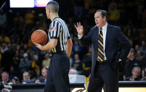 Wichita State coach Gregg Marshall reminds the ref  three free throws should be given after a call is reversed during the game on Jan. 30, 2019 against SMU. (Photo by Joseph Barringhaus/The Sunflower).