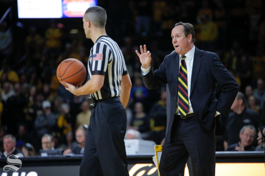 Wichita+State+coach+Gregg+Marshall+reminds+the+ref++three+free+throws+should+be+given+after+a+call+is+reversed+during+the+game+on+Jan.+30%2C+2019+against+SMU.+%28Photo+by+Joseph+Barringhaus%2FThe+Sunflower%29.