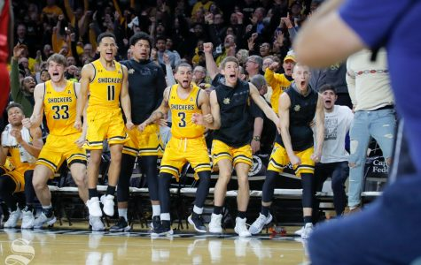 Wichita State's bench celebrates after Samajae Haynes-Jones makes the winning basket in the game against SMU on Jan. 30, 2019 at Charles Koch Arean. (Photo by Joseph Barringhaus/The Sunflower).