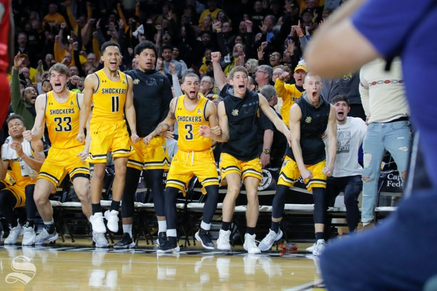 Wichita+State%27s+bench+celebrates+after+Samajae+Haynes-Jones+makes+the+winning+basket+in+the+game+against+SMU+on+Jan.+30%2C+2019+at+Charles+Koch+Arean.+%28Photo+by+Joseph+Barringhaus%2FThe+Sunflower%29.