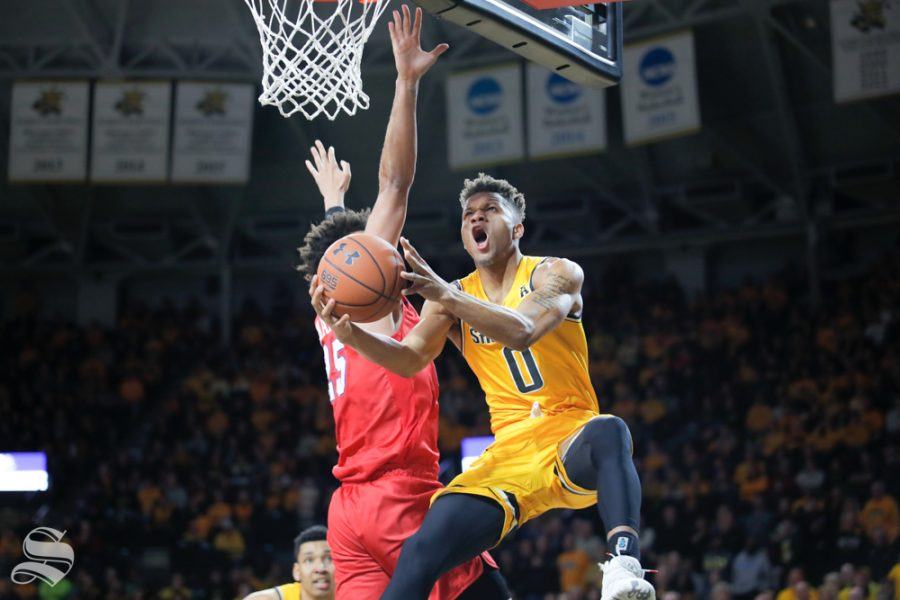 Wichita State guard Dexter Dennis goes up for a basket during the game against SMU on Jan. 30, 2019 at Charles Koch Arena. (Photo by Joseph Barringhaus/The Sunflower).