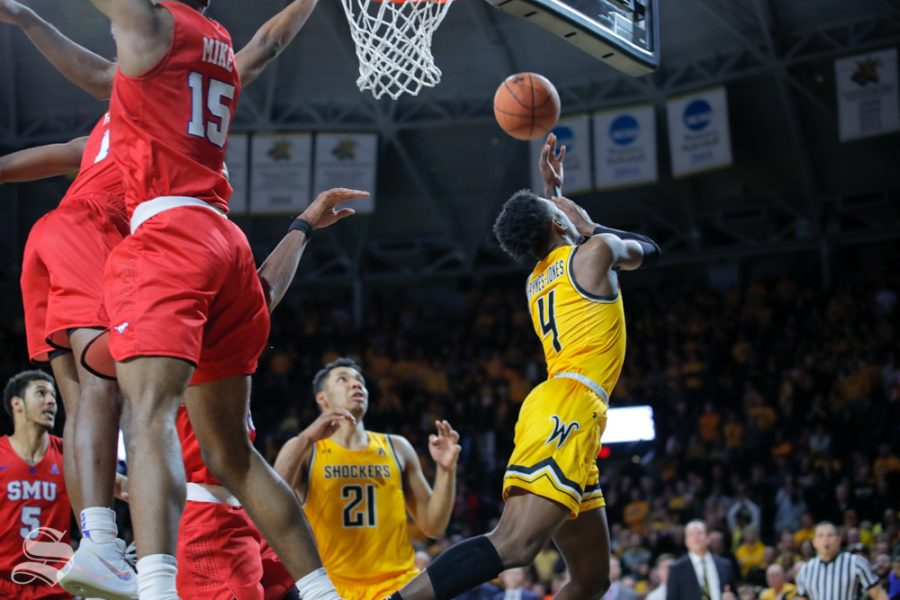 Wichita+State+senior+Samajae+Haynes-Jones+makes+a+driving+layup+to+put+the+Shockers+ahead+with+one+second+left.+Wichita+State+beat+SMU+85-83+on+Jan.+30%2C+2019.+%28Photo+by+Joseph+Barringhaus%2FThe+Sunflower%29.