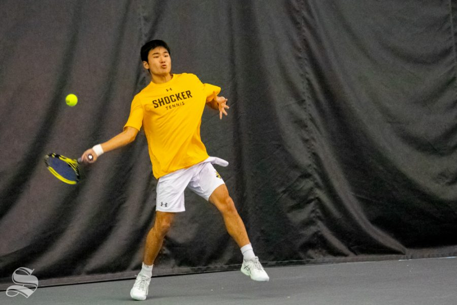 Wichita+State%27s+Haru+Inoue+returns+the+ball+in+their+match+against+University+of+Denver%27s+Pedro+Del+Valle.+Wichita+State+played+Denver+on+January+19.