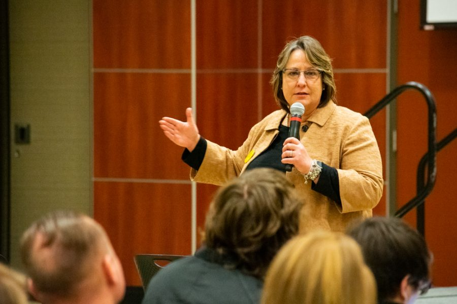 Teri Hall, Vice President for Student Affairs, speaks to attendees during the Town Hall meeting in Beggs Ballroom on the third floor of the RSC on Wednesday, January 30.