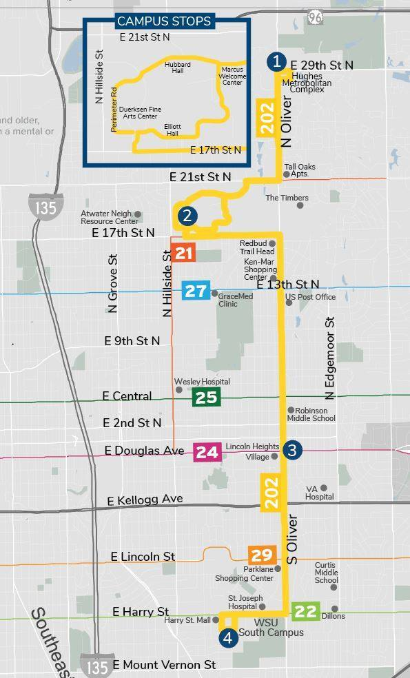 Serving Oliver between 29th St. N and Harry, the new Route 202 is made possible by a partnership between Wichita Transit and Wichita State University. Service begins Tuesday, January 22nd.