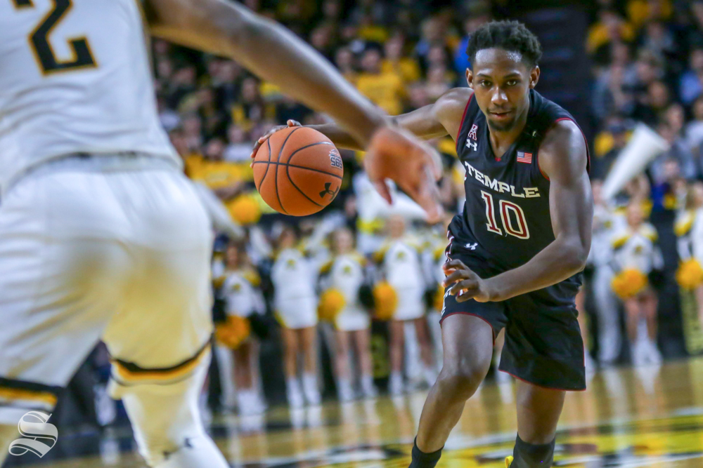 Temple's Shizz Alston, Jr., drives the lane on Jan. 6, 2019 at Charles Koch Arena.