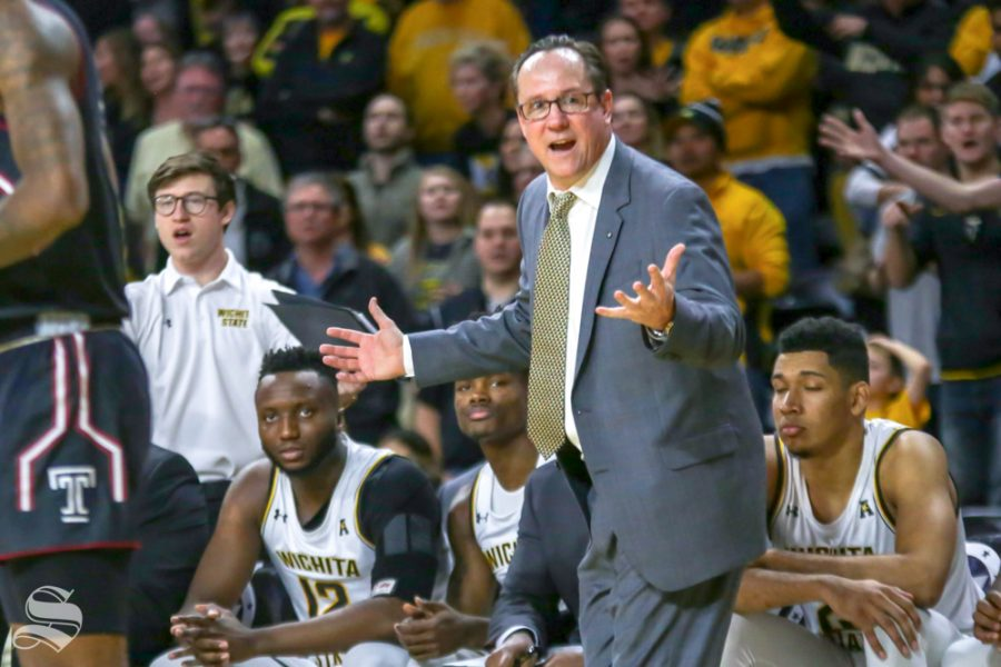 Wichita+State+Head+Coach+Gregg+Marshall+communicates+with+his+players+on+Jan.+6%2C+2019+at+Charles+Koch+Arena.