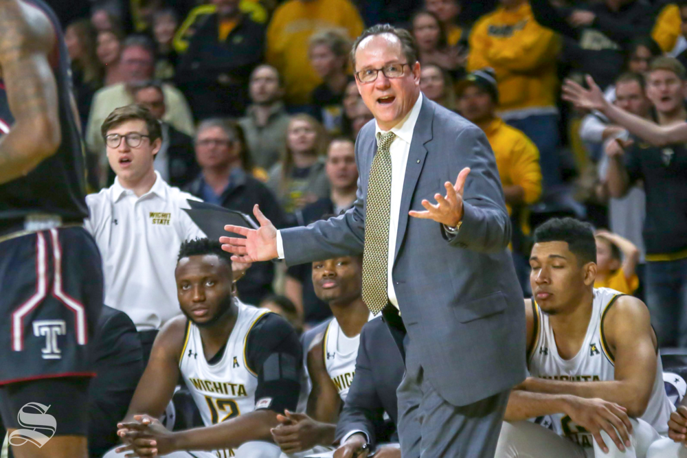 Wichita State Head Coach Gregg Marshall communicates with his players on Jan. 6, 2019 at Charles Koch Arena.