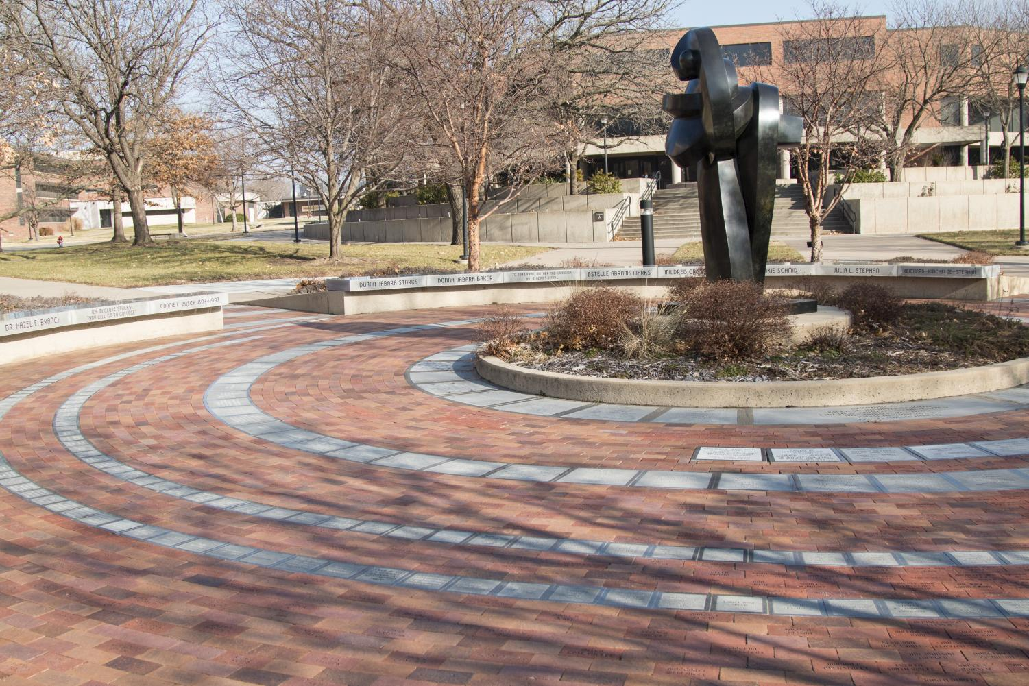 Plaza of Heroines located on the Wichita State campus.