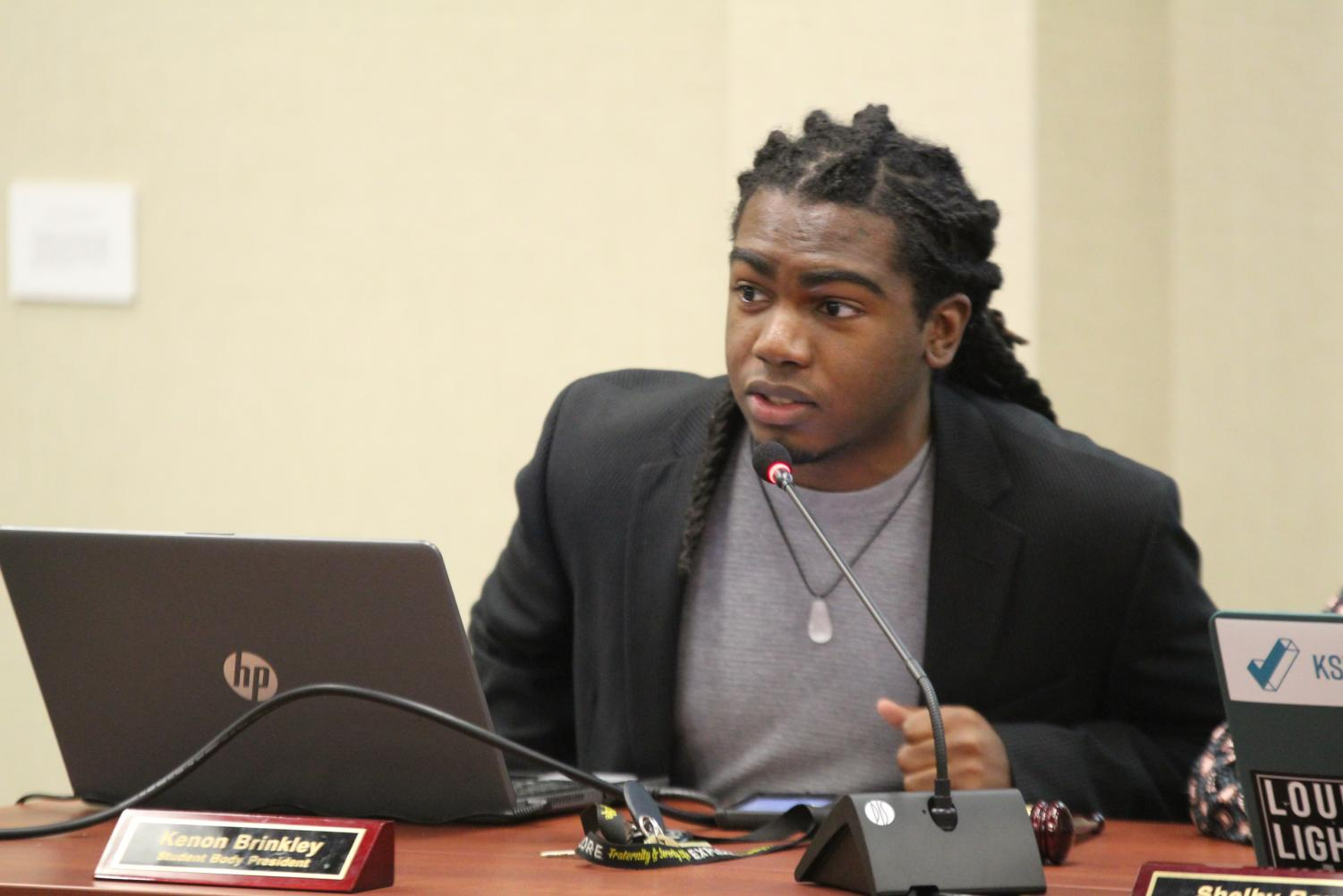 SGA President Kenon Brinkley sits during Wednesday's SGA meeting.