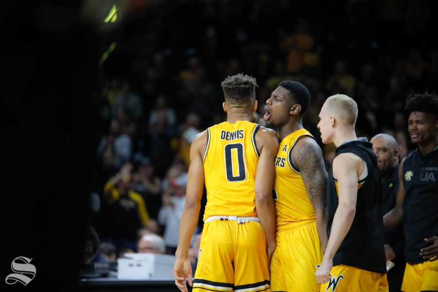 Wichita+State+guard+Jamarius+Burton+yells+towards+guard+Dexter+Dennis+after+a+point+is+scored+during+the+game+against+Tulsa+on+Feb.+2%2C+2019+at+Charles+Koch+Arena.+%28Photo+by+Joseph+Barringhaus%2FThe+Sunflower%29.