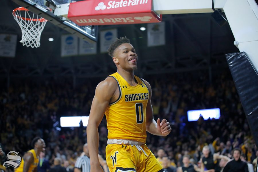 Wichita+State+freshman+Dexter+Dennis+celebrates+after+dunking+the+ball+in+the+final+seconds+of+the+game+against+Tulsa+on+Feb.+2%2C+2019+at+Charles+Koch+Arena.+%28Photo+by+Joseph+Barringhaus%2FThe+Sunflower%29.