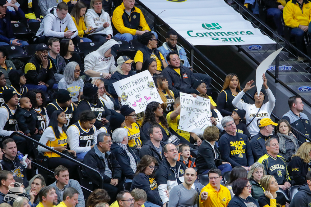 Dexter+Dennis%27+family+sits+in+the+stands+during+the+game+against+Tulane+at+Charles+Koch+Arena.+Dennis+turned+20+on+Feb.+9%2C+2019.+%28Photo+by+Joseph+Barringhaus%2FThe+Sunflower%29.