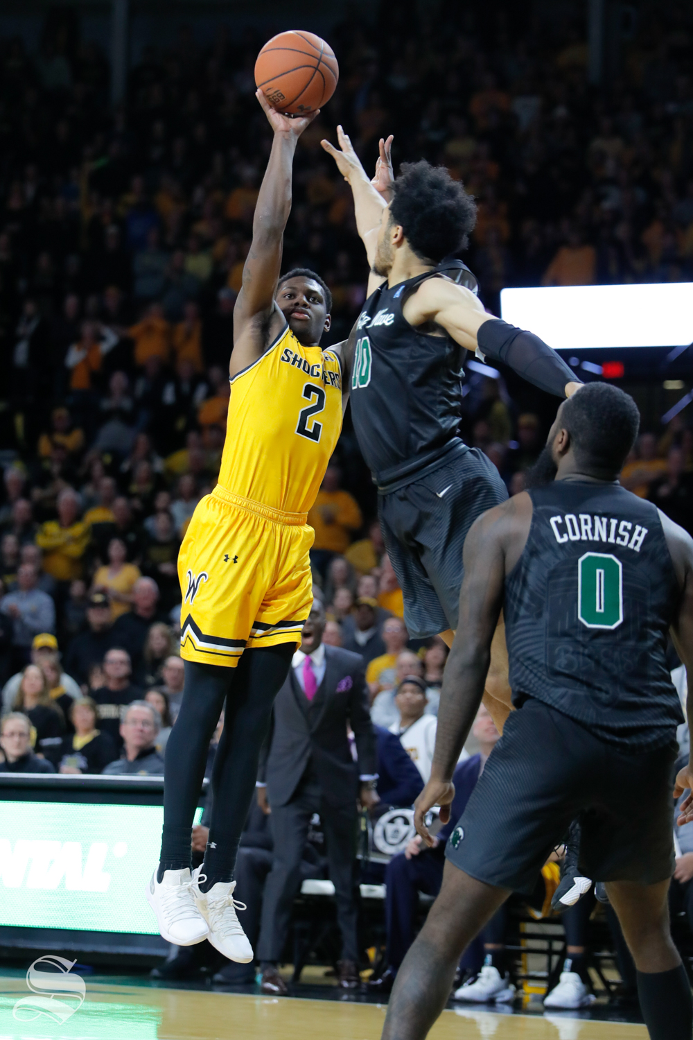 Wichita+State+guard+Jamarius+Burton+takes+a+shot+during+the+game+against+Tulane+on+Feb.+9%2C+2019+at+Charles+Koch+Arena.+Burton+had+9+points+in+the+win+over+Tulane.+%28Photo+by+Joseph+Barringhaus%2FThe+Sunflower%29.
